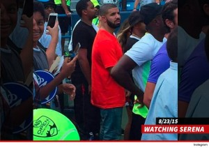 Image via TMZ Sports Drake at the WTA tournament in Cincinnati